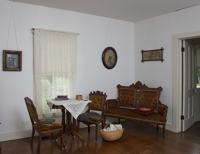 Small parlor inside the birth home of former U.S. General and President Dwight D. Eisenhower in Denison, Texas