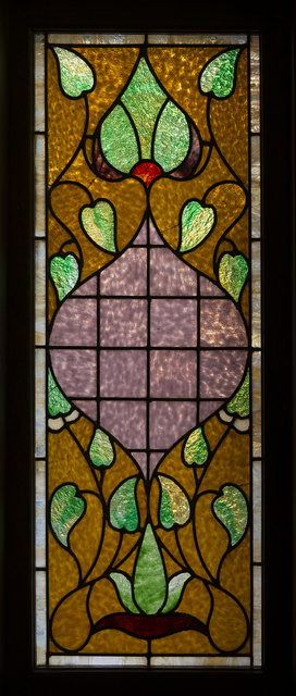 Small stained-glass window in the McFaddin-Ward House in Beaumont, Texas, now a house museum, was built in 1905-1906 in the striking and distinctive Beaux-Arts Colonial style