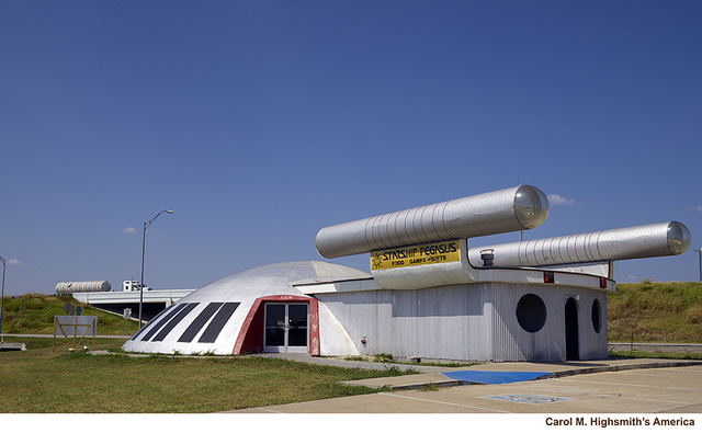 """Starship Pegasus,"" a failed futuristic restaurant and gift shop in in Italy, Texas. Gabriel J. Penn, postmaster in Waxahachie, 15 miles away, named the town in 1880 because, he said, its climate was much like that found in ""sunny Italy"""