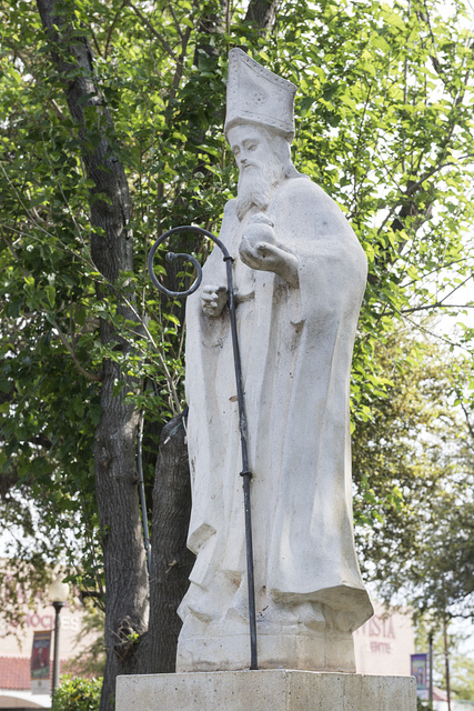 Statue of Saint Augustine, patron saint of Laredo, Texas, erected, thanks to public contributions, in San Agustin Plaza in 1969