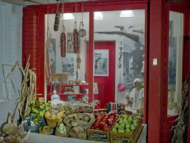 Store window inside the East Texas Oil Museum on the campus of Kilgore College in Kilgore, Texas