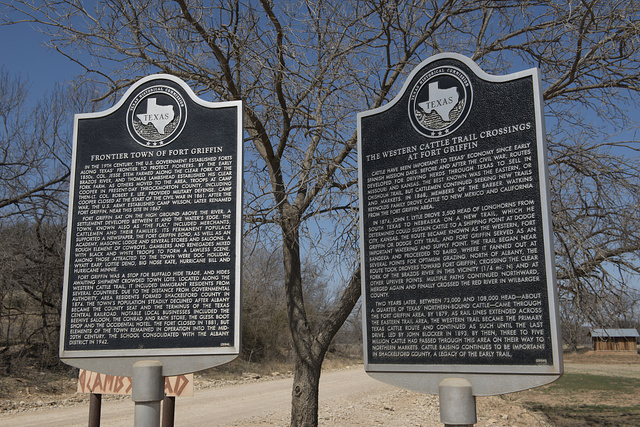 Texas Historical Commission plaques at Fort Griffin, Albany, Texas, seat of Shackelford County