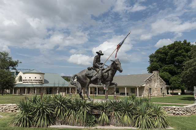 """Texas Ranger,"" San Antonio artist Don Hunt's sculpture of a 19th-Century ranger on horseback at the entrance to the Texas Ranger Hall of Fame and Museum in Waco, Texas"