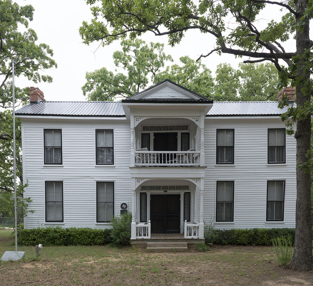 The 1850s Bass House, once the oldest house in Sherman, Texas, and home to Confederate Col. T.C. Bass and his family, and later moved to the Grayson County Frontier Village and Museum at Loy Park in Denison, Texas