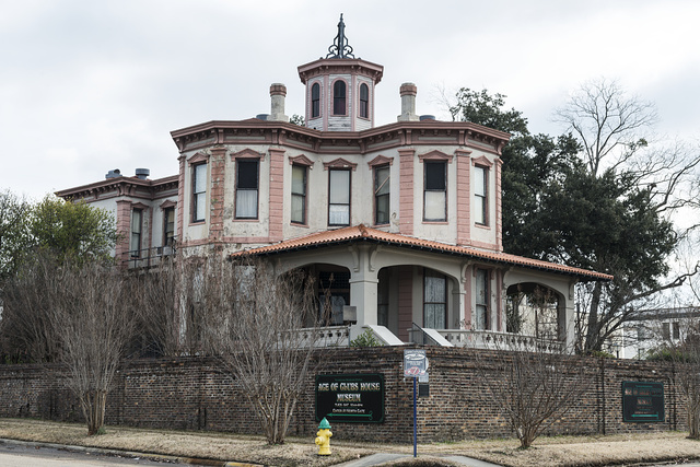 "The Ace of Clubs House in Texarkana, Texas, more formally known as the Draughon-Moore home. The house was built in 1885 in roughly the shape of the ""club"" figure on the ace of clubs card in a poker deck, with three octagonal wings and a rectangular wing. According to legend, the house was built with money won from a poker game. It is now a city-owned tour home and museum"