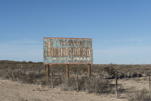 The bedraggled look of this old billboard along a lonely highway in remote Presidio County, Texas, would give one the impression that the motel in question might also be decrepit or even abandoned and long out of business. It is, instead (as of 2014), open and updated, as is its signage at the site in Marfa, Texas