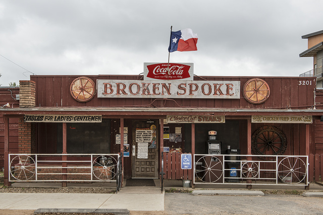"""The Broken Spoke, a dance hall and self-proclaimed """"honky-tonk,"""" or bar that provides musical (usually country) entertainment, in Austin, Texas"""