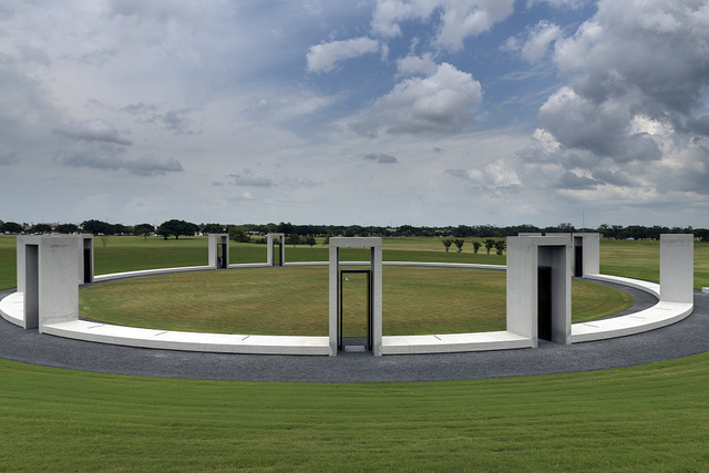 The bronze-and-granite Bonfire Memorial, executed on the Texas A&M University campus in College Station, Texas, by Overland Partners, Ltd.