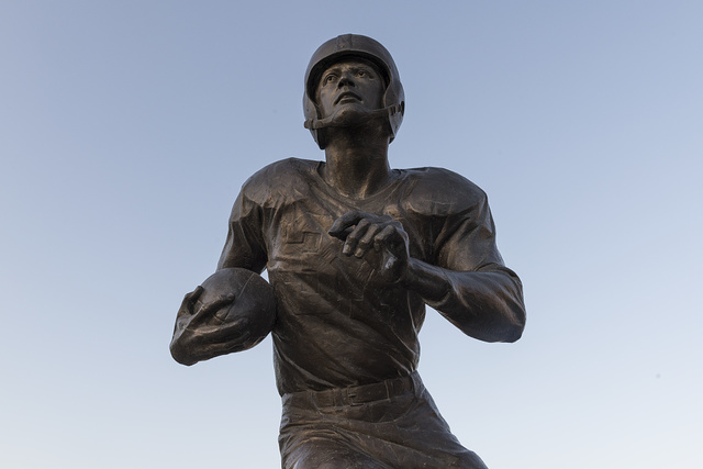 The Doak Walker statue on the campus of Southern Methodist University, Dallas, Texas, where he is a legend