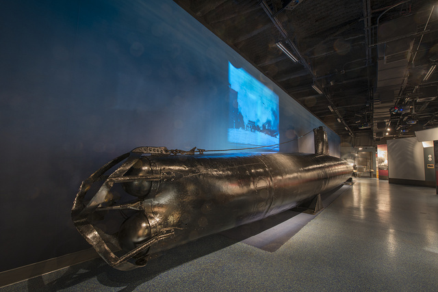"""The HA-19, also known as Japanese Midget Submarine """"C"""" by the US Navy, a historic Imperial Japanese Navy Type A Ko-hyoteki-class midget submarine displayed at the National Museum of the Pacific War in Fredericksburg, Texas"""