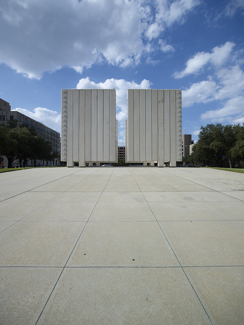 The John Fitzgerald Kennedy Memorial, a monument to U.S. President John Fitzgerald Kennedy in the West End Historic District of downtown Dallas, Texas