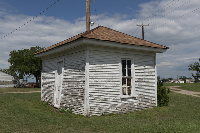The lone remaining original building, once home to a black sharecropper, at the Porter Farm, also known as Walter C. Porter Farm, near Terrell in Kaufman County, Texas