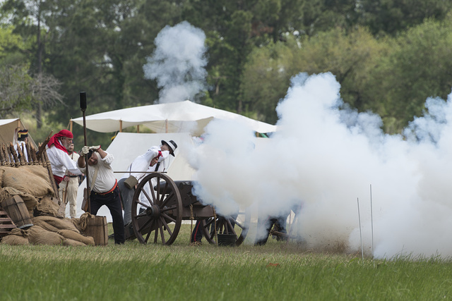 The Mexican artillery goes into action at the annual Battle of San Jacinto Festival and Battle Reenactment, a living- history retelling and demonstration of the historic Battle of San Jacinto in La Porte, Texas