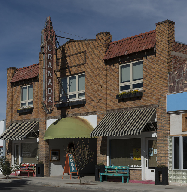 The old Granada movie theater in downtown Alpine, Texas, was converted into a music and performance hall and a site for community events