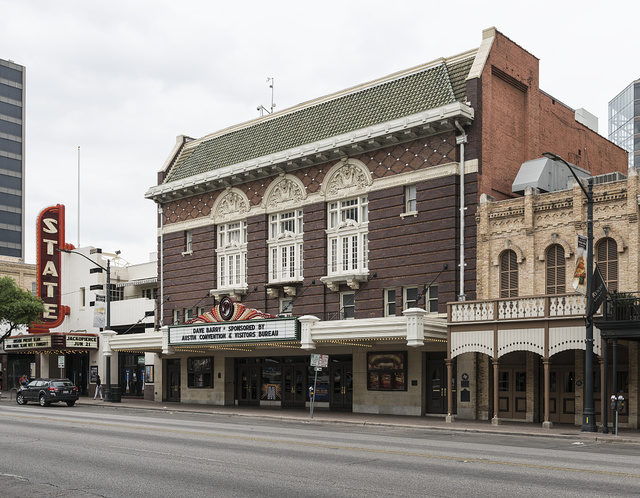 The old Paramount Theatre, left, and the adjacent, newer State Theater in downtown Austin, Texas
