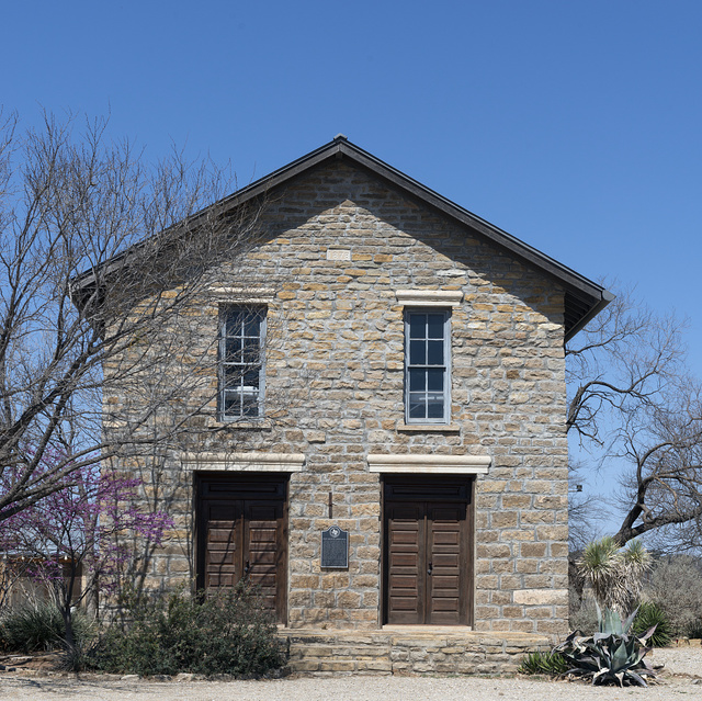 The restored masonic lodge hall at the Fort Griffin townsite, near the U.S. Army's frontier post of Fort Griffin in Shackelford County, Texas