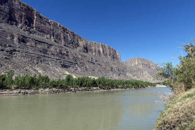 The Rio Grande River in Big Bend National Park in Brewster County, Texas. Mexico is to the left, a sliver of the United States to the right