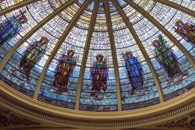 The stained-glass dome, by the acclaimed J&R Lamb Studios, inside the First Presbyterian Church in Orange, Texas is the only opalescent glass dome in the United States