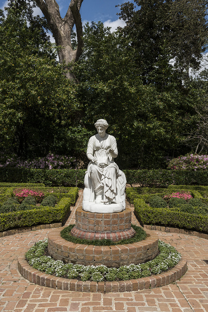 The statue of Clio, muse of history, dominates the Clio, or lower, garden at the Bayou Bend Collection and Gardens in the River Oaks neighborhood of Houston, Texas