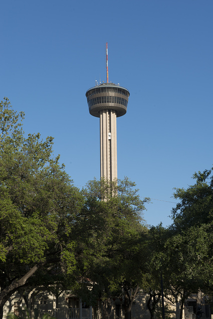 The Tower of the Americas, the theme structure for HemisFair '68, the 1968 world's fair, in San Antonio, Texas