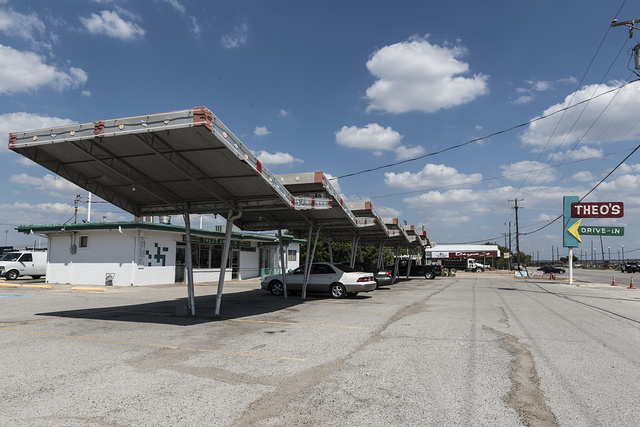Theo's drive-in restaurant in Grand Prairie, Texas, along Texas Route 180, once the main road between Fort Worth and Dallas. The restaurant was founded by Greek immigrant Theo Chokas in 1956