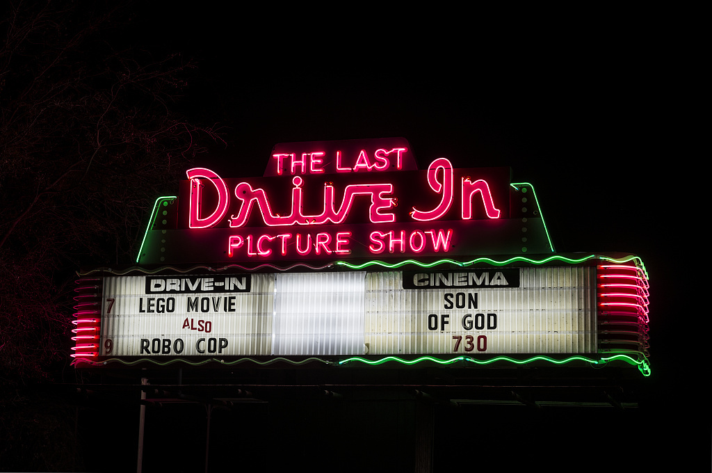 "This is certainly not the ""last drive-in picture show"" in Gatesville, Texas, at the time of this photograph, at least. The name is a takeoff on the 1971 movie ""The Last Picture Show,"" about a dying Texas town"