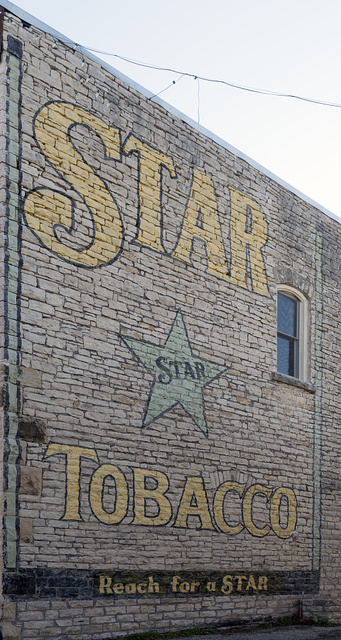 """Tobacco-product (""""Star Tobacco"""") advertising mural in downtown Hico in Hamilton County, Texas"""