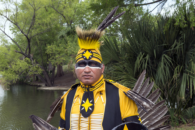 Tony Casteneda, whose heritage is Lipan Apache, is a dancer at the Celebrations of Traditions Pow Wow, an official Native American Pow Wow that is part of the annual, month-long Fiesta San Antonio in Texas