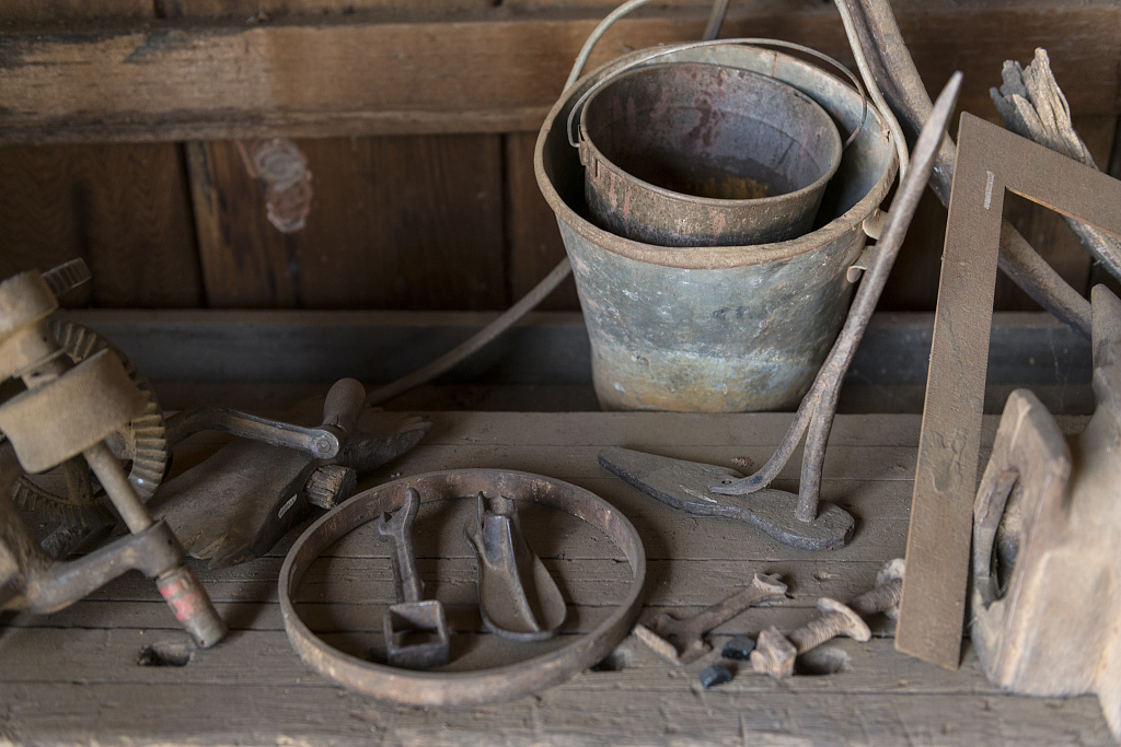 Tools at the blacksmith shop of the Buffalo Gap Historic Village in the unincorporated Taylor County, Texas, town of the same name, near Abilene