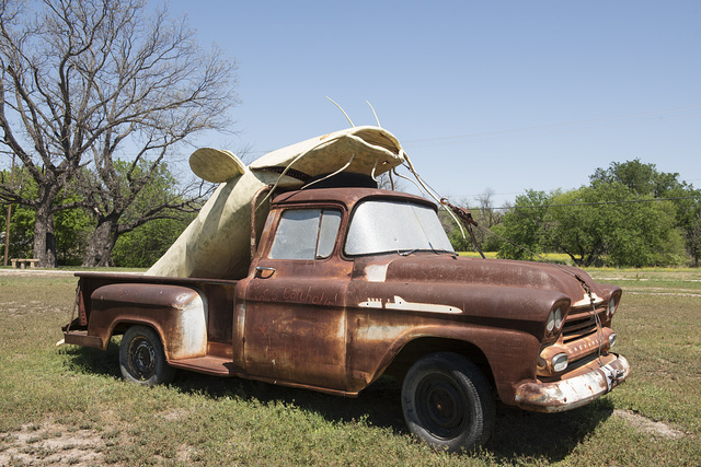 Trucks and Texas are not an unusual sight. Trucks and giant catfish together are. This art installation appeared at the Hanna Springs Sculpture Garden in Lampasas, Texas