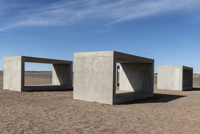 "Untitled box-like art, sometimes called ""Judd's cubes,"" by ""Minimalist"" artist Donald Judd, though he detested the ""minimalist"" description, on the grounds of the Chinati Foundation, or La Fundacion Chinati, a contemporary art museum in Marfa, a surprisingly sophisticated town in the Texas high desert"