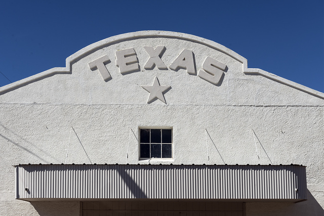 Upper facade of the Texas Theatre in Marfa, Texas