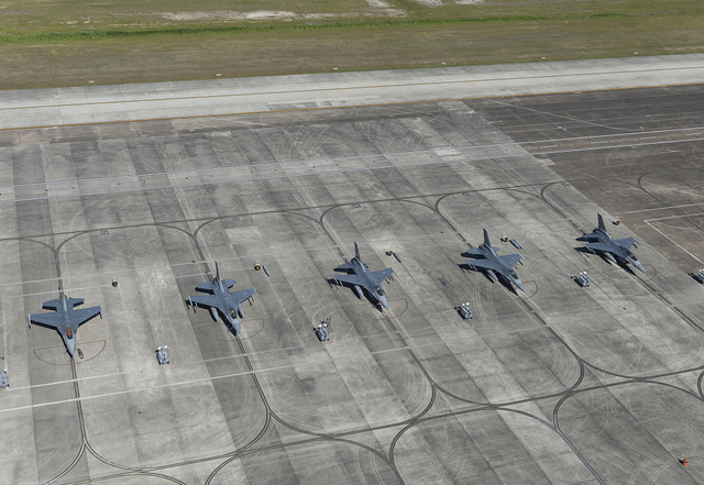 U.S. Air Force jets on the tarmac at Ellington Airport, one of three airports in Pasadena, Texas, outside Houston