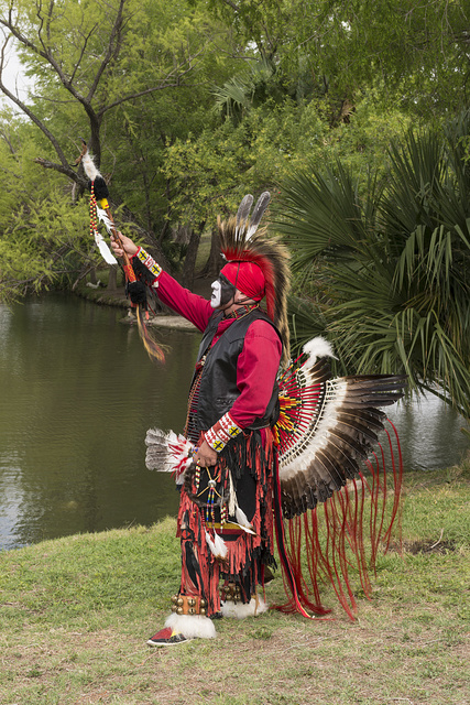 Victor Gomez, whose heritage is Seneca, at the Celebrations of Traditions Pow Wow, an official Native American Pow Wow that is part of the annual, month-long Fiesta San Antonio in Texas