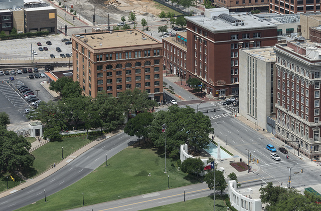View, in 2014, of Dealey Plaza and the Texas School Book Depository in Dallas, Texas, where Lee Harvey Oswald, the presumptive assassin of President John F. Kennedy, found a perch above the plaza on Nov. 22, 1963