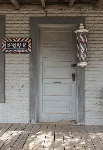 Vintage barber shop at the Buffalo Gap Historic Village in the unincorporated Taylor County, Texas, town of the same name, near Abilene
