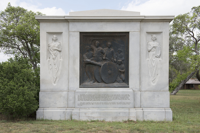 "Waldine Tauch was chosen by the Texas Centennial Commission to create ""The First Shot Fired For Texas Independence"" (1935), a life-sized bronze bas-relief, set in granite seven miles southwest of Gonzales, near the site of the Battle of Gonzales that ignited the Texas Revolution"