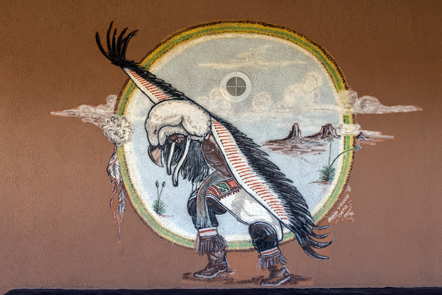 Wall art at the Tigua Indian Cultural Center at the Ysleta del Sur Pueblo, which celebrates more than 300 years of tribal history in El Paso, Texas