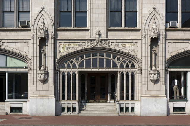 Architectural details of the Charleston, West Virginia Masonic Temple, designed by Charleston architect H. Rus Warne and constructed in 1915