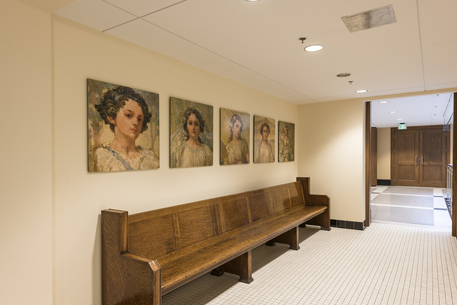 Corridor with art display at Federal Building and U.S. Courthouse, Erie, Pennsylvania