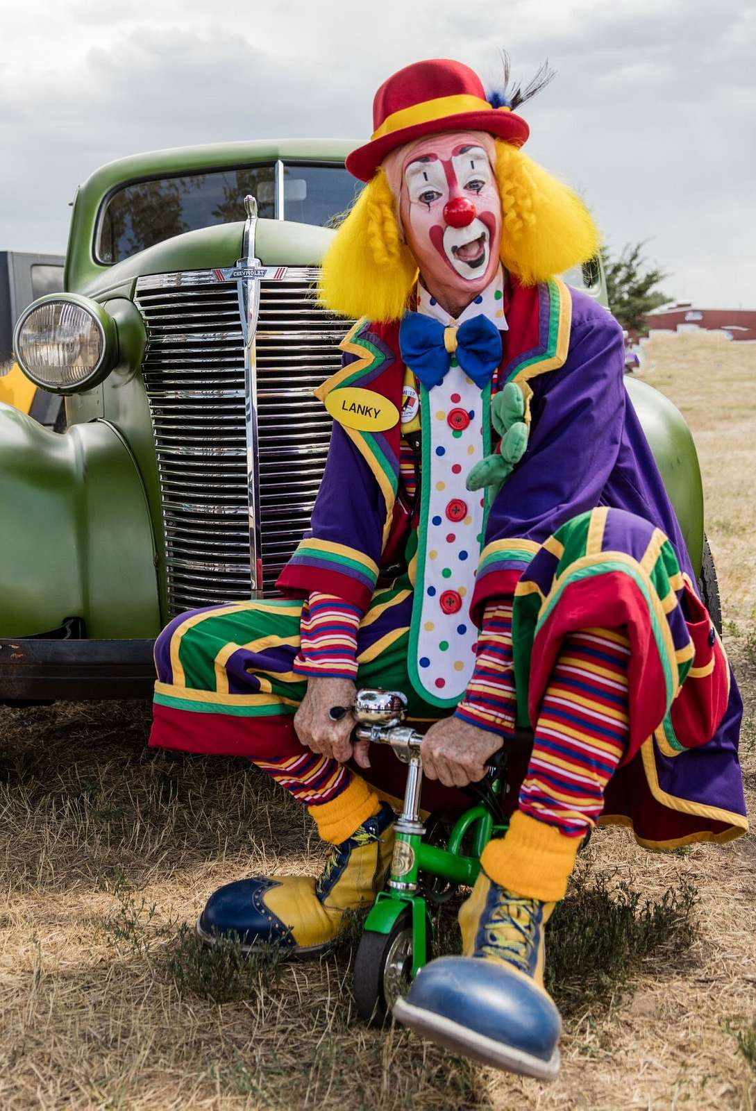 Danny Kollaja, better known as Lanky the Clown, acting up at the Wyoming State Fair in Douglas