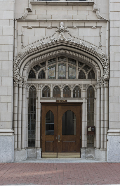Doorway of the Charleston, West Virginia Masonic Temple, designed by Charleston architect H. Rus Warne and constructed in 1915