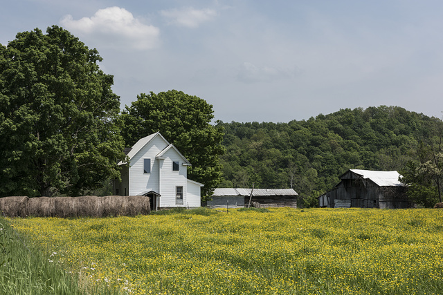 Farmstead in the spring in Mason County, near Gallopolis Ferry, West Virginia