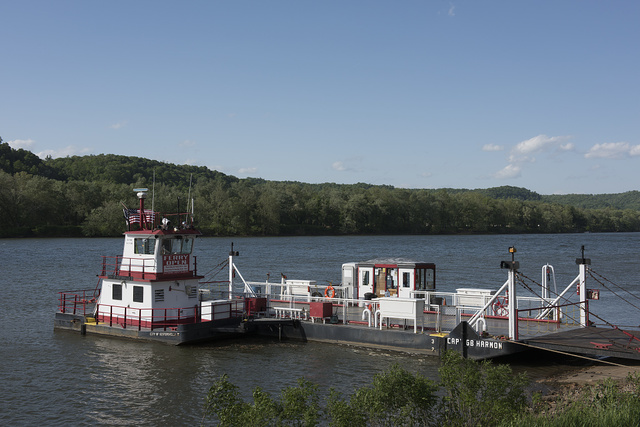 Ferry boat at the John Eckels Ferry Landing in Sistersville, West Virginia