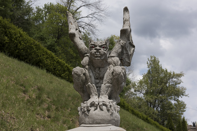 Gargoyle at the entryway to the Berkeley Springs Castle. Berkeley Springs, West Virginia