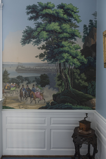 Hand-painted wallpaper at Morgan's Mount Vernon Farm of Southside, West Virginia