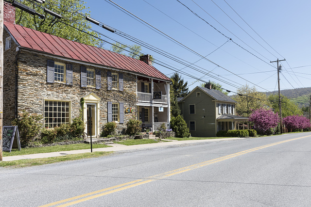 Old stone house, now a cafe, in Harpers Ferry, West Virginia