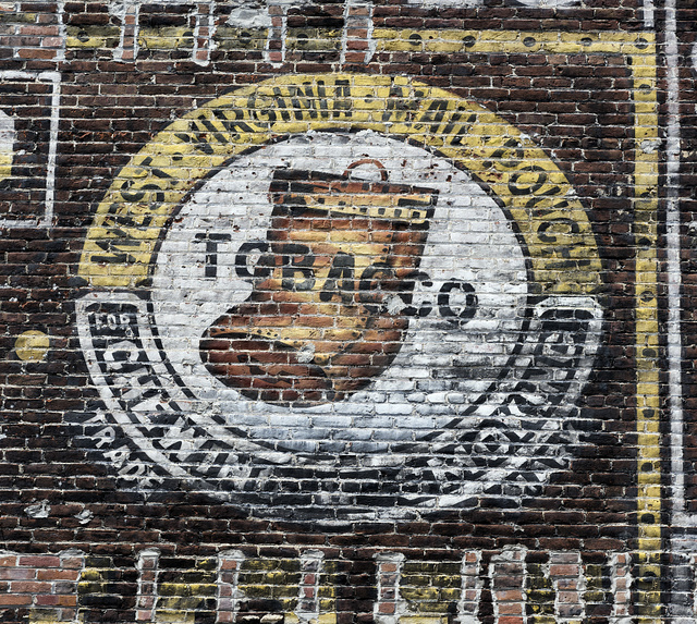 Part of an old Mail Pouch Chewing Tobacco sign on a wall in downtown Grafton, West Virginia