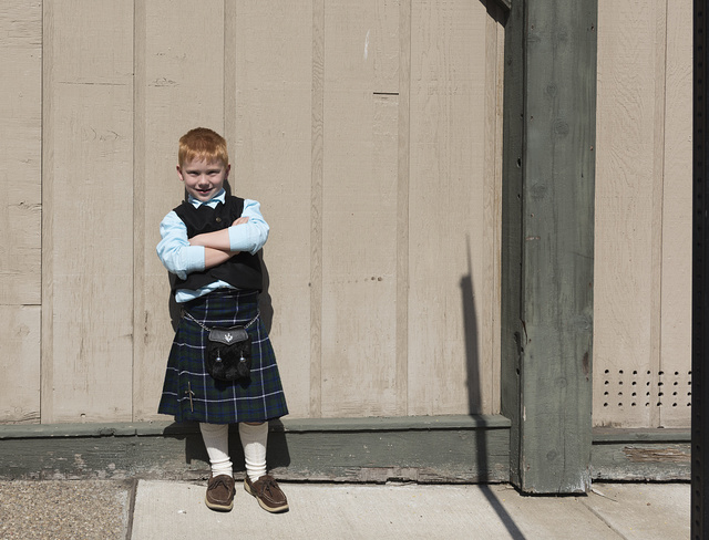 """Patrick """"Patch"""" Aucremanne from Bridgeport, West Virginia, takes a break during the annual North Central West Virginia Scottish Festival and Celtic Gathering parade that winds through downtown Clarksburg and ends with a celebration at Clarksburg's First Presbyterian Church"""