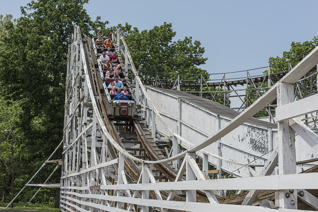 Riders enjoy (or endure) a spin on the Big Dipper roller-coaster at Camden Park, an amusement park on the outskirts of Huntington, West Virginia